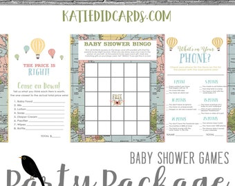 Adventure Awaits Hot air balloon baby shower party package world map travel Game BINGO Price is Right What's on your Phone | 1455 Katiedid