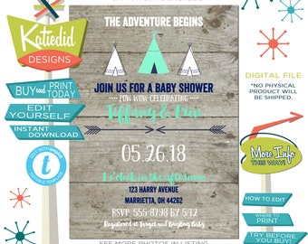 Baby Shower Invitation Gender Neutral, Rustic Teepee Tent for Wild One Boy Birthday Party | 129 Katiedid
