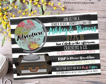 High School Graduation Announcement, Gender Reveal Travel theme, Oh the Places You'll Go luggage, black white stripes | 1456 Katiedid cards