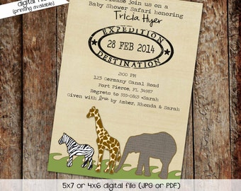 safari baby shower invitation, travel baby shower invitation, boy baptism invitation | 1231 Katiedid Design