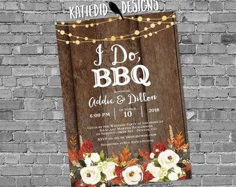 Fall Bridal Shower Invitation, Rehearsal Dinner, Rustic Couples I Do BBQ, Autumn Leaves Lights | 377 Katiedid