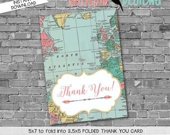 world map baby shower Travel Themed oh the places you'll go Adventure Awaits folded THANK YOU CARD notecard party favor 370 Katiedid designs
