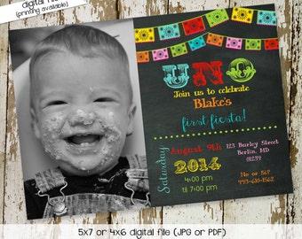 fiesta invitation birthday Papel Picado uno day of the dead cinco de mayo Chalkboard picture photo dia de los muertos | 234 Katiedid Designs