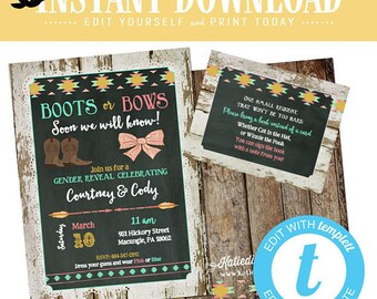 boot or bow gender reveal invitation twin rustic tribal baby shower tribal boho couples coed mint coral diaper girl birthday | 1439 Katiedid