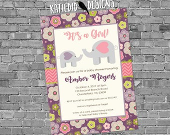 elephant baby shower invitation couples coed sprinkle sip see books brunch pink purple floral girl twins diaper wipes | 13101 katiedid cards