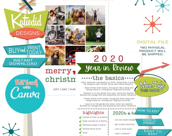 Featured listing image: Year in Review Christmas card with photos pictures merry christmas happy new year Canva | 832 Katiedid