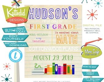First day of School Sign Printable, 1st Day of School Sign Reusable, Editable Bookworm Bookshelf   Katiedid Designs