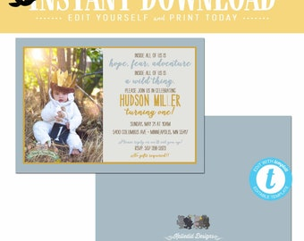 wild one two where the thing are birthday invitation couples baby shower coed rumpus king gold boy rustic twin editable | 2016 Katiedid card