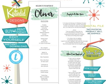 LDS Baptism Program, Mint Watercolor Mormon Christening, Great to be 8 eight, Editable | 705 Katiedid design