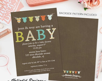 gender reveal invitation baby shower neutral boy girl onesie bodysuit bunting banner rustic couples coed diaper wipes | 1407 Katiedid Cards