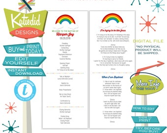 LDS Baptism Program, Rainbow Primary Program, Mormon Christening, Great to be 8 eight editable | 702 Katiedid