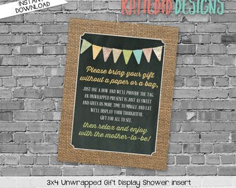 display shower insert | unwrapped gift enclosure card | he or she gender reveal | rustic shower gender neutral | 1410 1431 Katiedid Designs