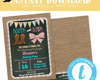twin 1st birthday invitation boot bow boy girl brother sister double cowgirl farm barn country burlap lace chalkboard banner | 227 Katiedid