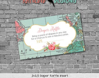 Travel Theme Invitation oh the places you'll go baby shower Adventure Awaits world map Diaper raffle ticket wipe 370 Katiedid Designs