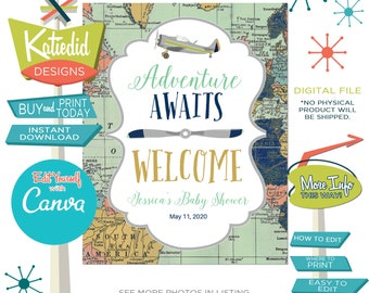 Welcome Sign for any Event, Adventure Awaits Travel Theme with World Map and Retro Airplane | 12124 Katiedid
