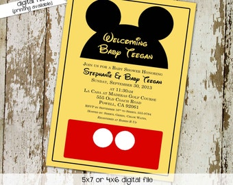 Disney baby shower invitation Mickey mouse birthday invitation Rustic shower invitations gender neutral Diaper Brunch   1406 Katiedid Cards