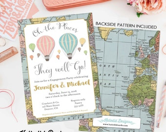 adventure awaits hot air balloon travel theme couples shower invitation oh the places you'll go miss to mrs twins baby coed | 365 Katiedid