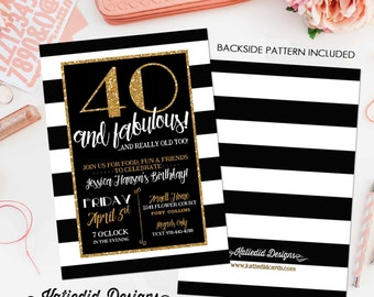 40th birthday invitation for women rehearsal dinner adults only gold black white stripe 30th 50th 60th chalkboard gay | 239 Katiedid Designs