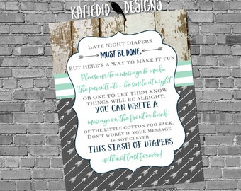 late night diaper game sign tribal arrows invite boy oh boy baby shower wood gender reveal mint green and navy gray 12120 Katiedid Designs