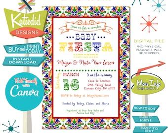 Fiesta Baby Shower Invitation Gender Neutral, Taco Bout a Baby Gender Reveal | 1424 Katiedid Designs