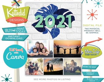 Printable Photo Calendar, Personalize with your Family Pictures, Easy to Edit on Canva, Gift for Christmas