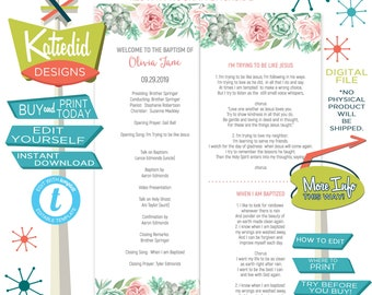 LDS Baptism Program, Pink Watercolor Mormon Christening, Great to be 8 eight, Editable | 707 Katiedid design