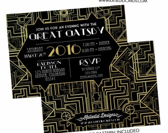 great gatsby invitation, roaring 20s invitation, art deco rehearsal dinner | 303 Katiedid Designs