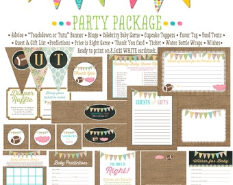 touchdowns or tutus gender reveal surprise gender burlap lace baby shower party package bunting banner wishes for baby 1431 Katiedid Designs