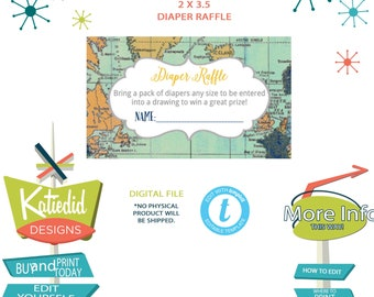 Travel Theme Party Diaper Raffle Ticket, Diaper and Wipes Baby Shower, Adventure Awaits | 1275 Katiedid Designs