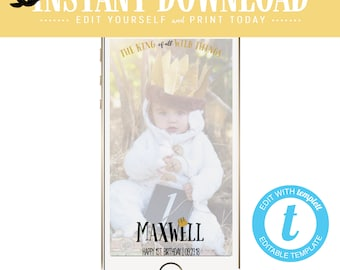 Snapchat geofilter wild one two where the things birthday invitation couples baby shower coed rumpus king gold black white | 296 Katiedid