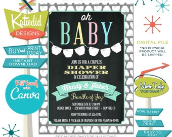 Diaper Shower Invitation, Gender reveal Couples Baby Shower, Gender Neutral Print and Edit Yourself | 1448 Katiedid