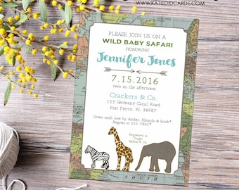 Adventure awaits travel theme couples baby shower invitation world map safari elephant giraffe zebra tribal boy twins | 12115 Katiedid cards