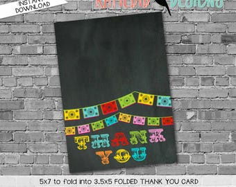 Papel Picado invitation Fiesta Bridal Shower cinco de mayo co-ed party day of the dead chalkboard thank you card 301 234 Katiedid Designs