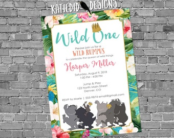 wild one two where the things are aloha luau floral Hawaiian birthday invitation girl rumpus couples baby shower queen | 2013 Katiedid