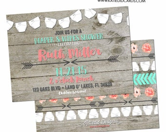 tribal Baby shower invitation gender reveal neutral Diaper Wipes Boho Twins Couples coed Sprinkle sip see Mint Coral | 1417 Katiedid Designs