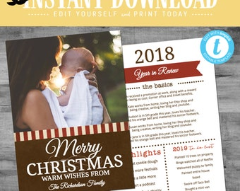 Printable photo card Christmas Religious, Year in Review Christmas card with  pictures, editable templett | 806 Katiedid Designs