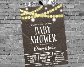Rehearsal dinner invitation couples shower barnwood string lights rustic I do BBQ engagement party summer retirement | 12127 katiedid design