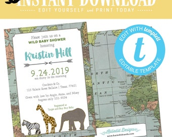 Safari Baby Shower Invitation, Adventure awaits boy birthday, world map templett invitation, travel theme | 1213 Katiedid Designs