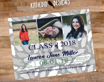 High School Graduation Announcement, Boho chic Feathers with Photo Picture, Invitation Party Commencement | 608 Katiedid Designs