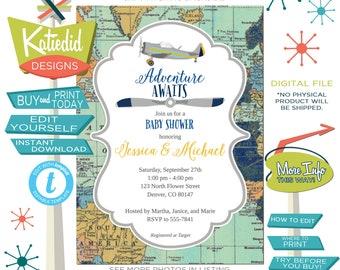 Travel Theme Baby Shower Invitation, Airplane adventure awaits boy birthday | 1275 Katiedid