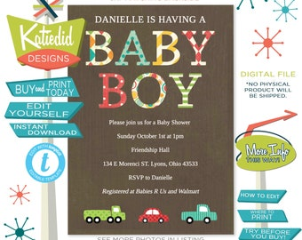 Transportation Baby Shower, Baby Boy Shower Invitation Truck Car Theme  | 1229 Katiedid