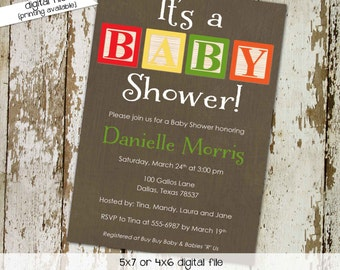 baby blocks couples shower invitation gender reveal neutral twins boy coed sprinkle sip see diaper wipes brunch rustic | 1253 Katiedid cards
