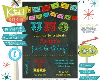 Fiesta Birthday Invitation, Fiesta Baby Shower Invitation, Day of the Dead | 234 Katiedid Designs