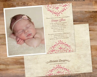 birth announcement newborn picture ultrasound photo rustic pink girl baptism pregnancy baby shower sprinkle birthday | 435 Katiedid Designs
