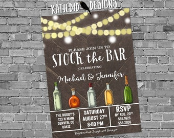 stock the bar rehearsal dinner invitation Couples Shower bridal bottle string light I do BBQ engagement party housewarming | 332 Katiedid