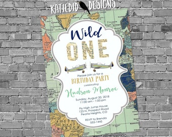 Wild one birthday invitation Adventure awaits baby shower World map Vintage Airplane Travel Theme gender neutral reveal boy | 2014 Katiedid
