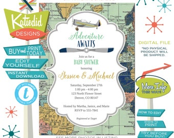 Adventure await baby boy shower invitation Retro vintage airplane biplane Travel Theme sip see editable navy mint gray coed | 12124 Katiedid
