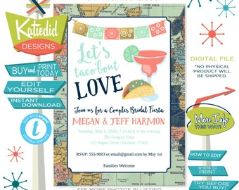 Fiesta Bridal Shower Invitation, Travel Theme Taco Bout Love, I do BBQ Engagement Party | 304 Katiedid Designs