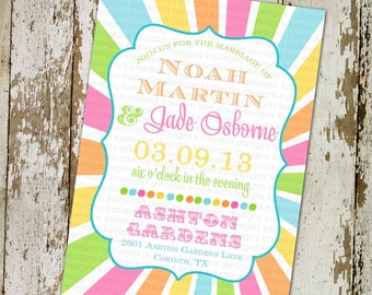 rainbow invitation gay wedding 1st birthday girl circus I do BBQ engagement party stock the bar coed couples rehearsal dinner | 302 Katiedid