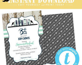 Book theme baby shower invitation brunch storybook library couples boy coed sprinkle sip see twins navy mint gray editable | 12121 Katiedid